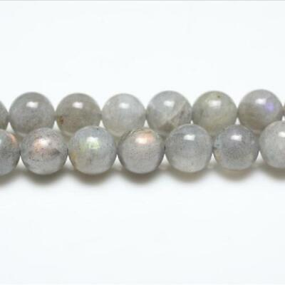 Labradorite Round Beads 8mm Grey 44+ Pcs Gemstones DIY Jewellery Making Crafts
