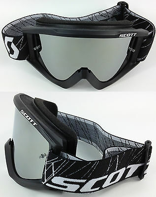SCOTT RECOIL XI MOTOCROSS MX GOGGLES BLACK with GOGGLE-SHOP SILVER MIRROR LENS