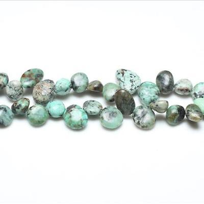Strand Of 42+ Blue/Green African Turquoise 10-14mm Drop-Style Chip Beads GS5211