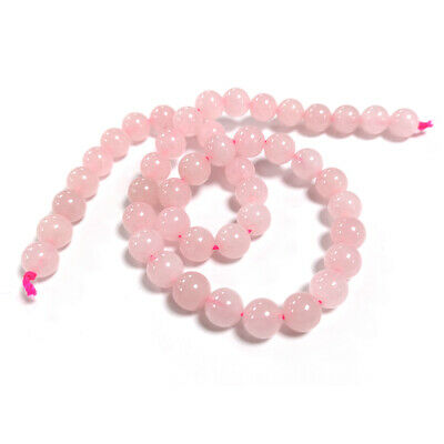 Rose Quartz Round Beads 8mm Pink 45+ Pcs Gemstones DIY Jewellery Making Crafts