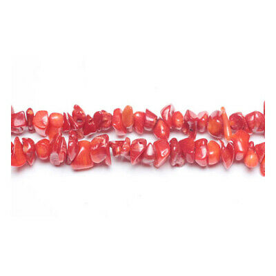 Long Strand Of 240+ Red Coral 5-8mm Chip Beads GS3116