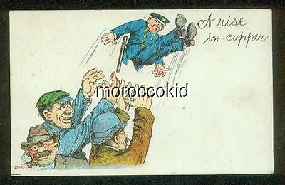"""EARLY 20th CENTURY COMIC HUMOR PEOPLE TOSSING POLICEMAN """"A RISE IN COPPER"""""""
