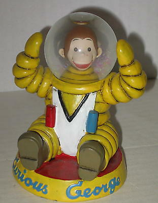 1997 Curious George Astronaut Figurine w/ Water Globe Space Helmet 4""