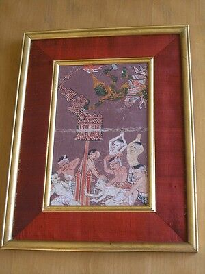 18 C. Thai Hindu Guache Manuscript Painting Mythological Angels Demons Ramakien