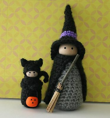 Halloween Witch and Cat Costume Wood Doll Pin Crochet Ornament Kit.