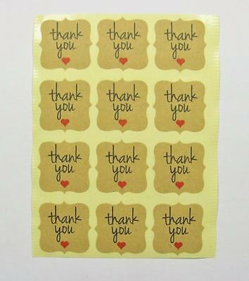STICKERS small THANK YOU fancy squares NATURAL pk of 24 gift labels seals party