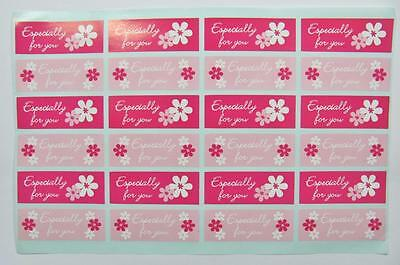 STICKERS ESPECIALLY FOR YOU - PINK pk of 24 gift labels seals party bags