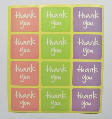 STICKERS THANK YOU coloured squares pk of 24 gift labels seals party bags