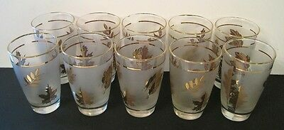 """Lot of 10 Vintage LIBBEY Retro Glass 4 5/8"""" Tumblers Frosted Gold Leaf Leaves"""