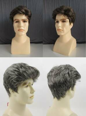 Mens Male Short Straight Wavy Hair Wig Tapered Brushed Back Johnny Pompadour