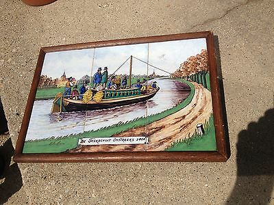 Dutch Delft Tile Picture DE TREKSCHUIT OMSTREEKS 1850 Art Work Antique