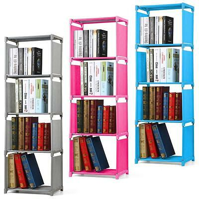 4 Tier Children Room Narrow Bookcase Bookshelf Waterproof Canvas Storage Shelves