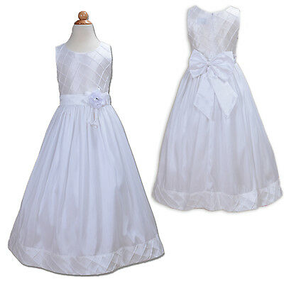 New White Holy Communion Bridesmaid Party Flower Girl Dress 7-8 Years
