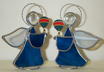 Peacock Blue Stained Glass Angel Hot Air Balloon Lapel Pin Handmade in USA New