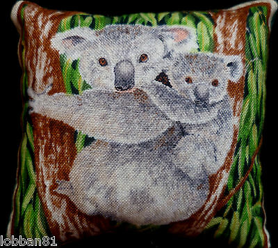 Pin Cushion Koala Bear & Baby Design Cotton & Green Velvet Reverse Made UK New