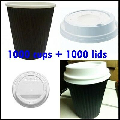 2000 Pieces disposable paper coffee cups and lids,  take away cups 16 oz 500 ml
