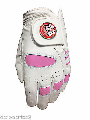 New Ladies Golf Glove. Size Medium. Pink Smiley Angry Ball Marker.