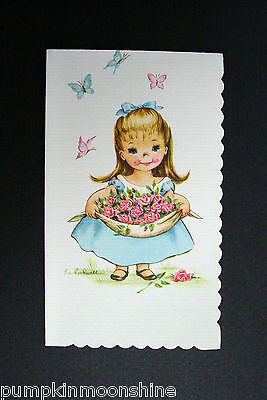 Vintage Eve Rockwell Greeting Card, Girl in Blue Dress Carrying a Bunch of Roses