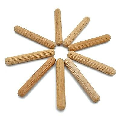 200, 6mm x 40mm FLUTED HARDWOOD WOODEN DOWEL PIN FOR WOODWORKING