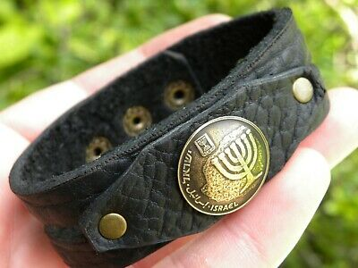 Bracelet  Buffalo Leather Jewish authentic Israel coin nice gift for Hanukkah