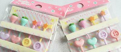 Lovely food pick 10pcs Strawberry Star heart  Ribbon  Lunch box Accessories