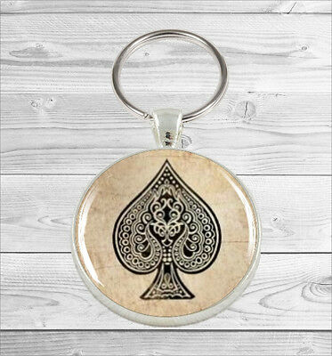 CART GAME AS OF SPADES ROUND KEY CHAIN OR PURSE CHARM -fgt6Z