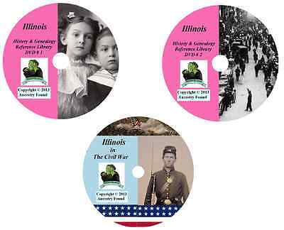 270 old books - ILLINOIS  - History Genealogy Civil War Collection - DVD CD IL