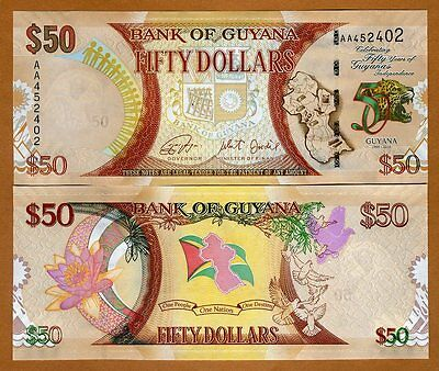 Guyana, 50 dollars, 2016, P-New, AA-Prefix UNC > Commemorative