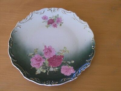 Antique Victorian Hand Painted Pink Roses Green Ground Plate Raised Detail Gilt