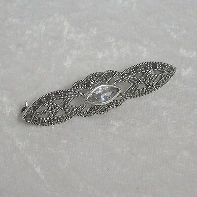 Sterling Silver Marcasite brooch with clear crystal