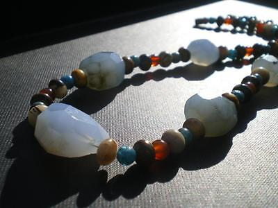 1 Rare Ancient Blue Persian Chalcedony Necklace