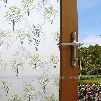 Static Cling Privacy Window Film Green Tree Stained Glass Decor Frosted Film 1.5