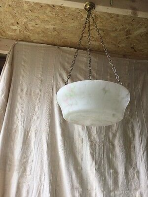 Pink Green glass vintage Art Deco antique plafonnier hanging light shade Damaged