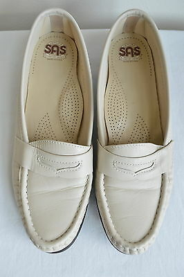 1de248a7d58 Womens Sz 8 N SAS Wink Shoes Loafers Bone Leather Slip On Low Heel Beige