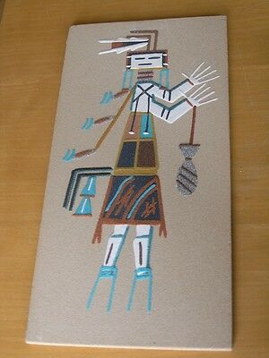 """Vintage Navajo Diné Indian Sand Painting Yei Bi Chei Holy Man Panel 8x16"""" Signed"""