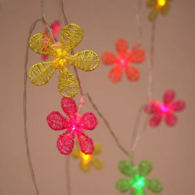 Neon Flowers - 12 LED Indoor String Light Chain - Battery Powered