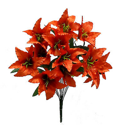 14 Tiger Lilies Lily ~ BURNT ORANGE ~ Silk Wedding Flowers Bridal Centerpieces