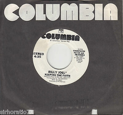 BILLY JOEL Keeping The Faith 45 - White Label Promo