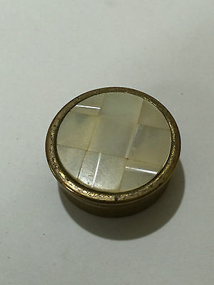 Vintage Brass & Mother of Pearl Pill/Snuff Container - Free Postage