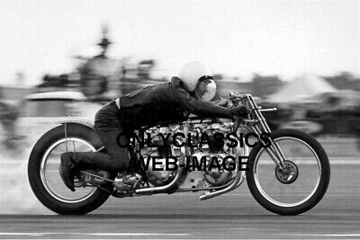1964 Don Highland Triumph T110 Parasite Twin Engine Drag Motorcycle Racing Photo