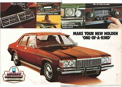 1974 HOLDEN HJ ACCESSORIES A3 Sized 2 Page Brochure PREMIER KINGSWOOD