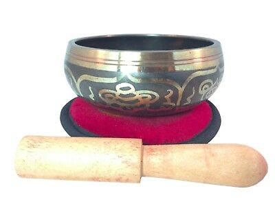 Tibetan eight lucky symbol Yoga singing bowl great sound w/ embroidered cushion