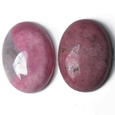 1 x Pink Rhodonite 18 x 25mm Oval-Shaped Flat-Backed Cabochon CA16662-6