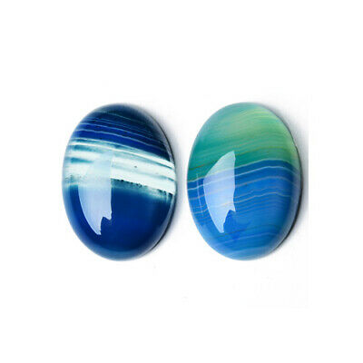 1 x Blue Banded Agate 18 x 25mm Oval-Shaped Flat-Backed Cabochon CA17397-3