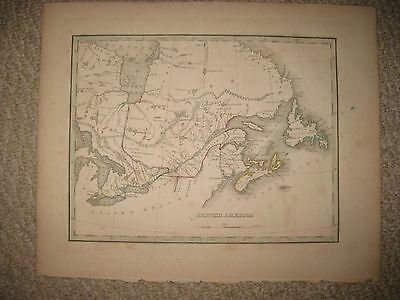 Early Antique 1835 British America Canada Bradford Map Nova Scotia Newfoundland
