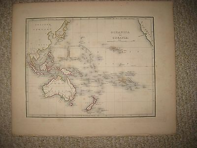 Antique 1835 Oceanica Oceania Australia New Holland Zealand Hawaii Bradford Map