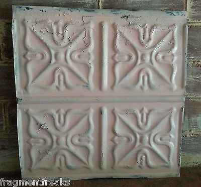 "12"" x 12"" Antique Tin Ceiling Tile *SEE OUR SALVAGE VIDEOS*  Pink TR14 Metal"