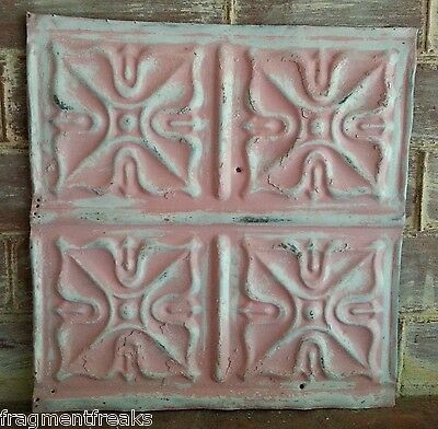 "12"" x 12"" Antique Tin Ceiling Tile *SEE OUR SALVAGE VIDEOS*  Pink TR16 Metal"