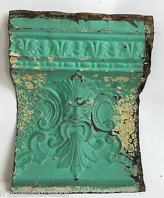 """Antique Tin Ceiling Tile Old Man Of The North 12"""" x 16"""" Blue C22a *See Videos*"""