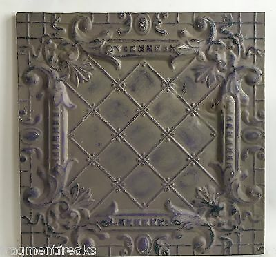 23 x 23 Antique Tin Ceiling Tile Taupe Wrapped Wall Art Anniversary C5 Reclaimed